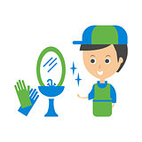 Cleanup Service Worker And Clean Bathroom Tap, Cleaning Company Infographic Illustration
