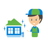 Cleanup Service Worker And Clean Home, Cleaning Company Infographic Illustration
