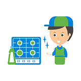 Cleanup Service Worker And Clean Stove, Cleaning Company Infographic Illustration