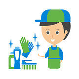 Cleanup Service Worker And Household Chemistry Products, Cleaning Company Infographic Illustration