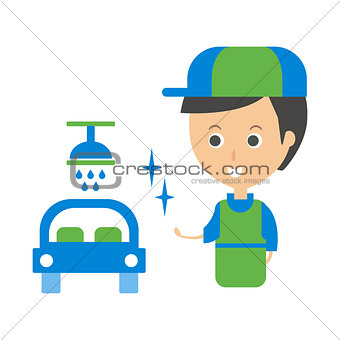 Cleanup Service Worker And Clean Car, Cleaning Company Infographic Illustration
