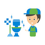 Cleanup Service Worker And Clean Toilet, Cleaning Company Infographic Illustration