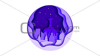 Brazil circle icon flat style architecture buildings monuments town city country travel printed materials