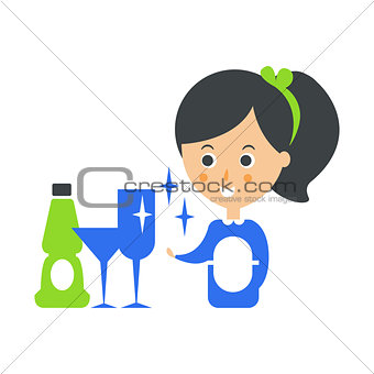 Cleanup Service Maid And Clean Glasses, Cleaning Company Infographic Illustration
