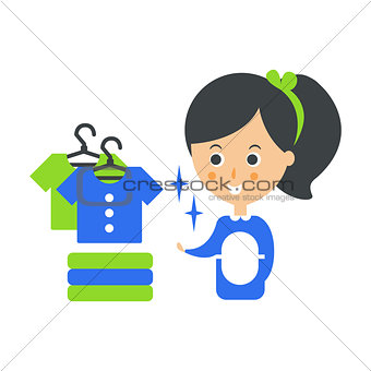 Cleanup Service Maid And Clean Clothes, Cleaning Company Infographic Illustration