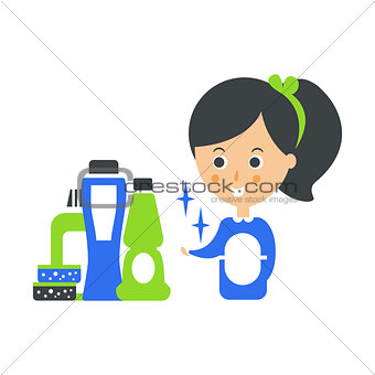 Cleanup Service Maid And Set Of Household Chemistry Products, Cleaning Company Infographic Illustration