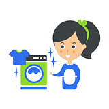 Cleanup Service Maid And Washing Machine Laundry, Cleaning Company Infographic Illustration