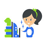 Cleanup Service Maid, Iron And Ironed Laundry, Cleaning Company Infographic Illustration