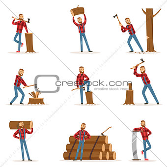 Classic American Lumberjack In Checkered Shirt Working Cutting And Chopping Wood With Cleaver And A Saw