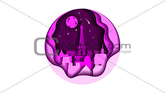 circle icon flat style architecture buildings monuments town city country travel card, cover, France Paris