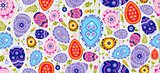 Seamless pattern Happy Easter background colored eggs, spring decoration, leave, tulip flower design element in flat style