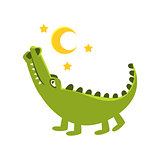 Romantic Crocodile Walking Under Night Sky, Cartoon Character And His Everyday Wild Animal Activity Illustration