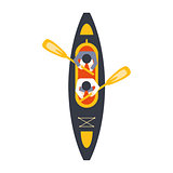Kayak For Two Person With Peddles From Above, Part Of Boat And Water Sports Series Of Simple Flat Vector Illustrations