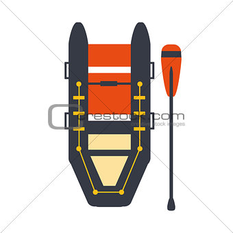 Grey And Red Inflatable Raft With One Peddle, Part Of Boat And Water Sports Series Of Simple Flat Vector Illustrations