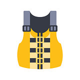 Yellow And Grey Life Vest, Part Of Boat And Water Sports Series Of Simple Flat Vector Illustrations