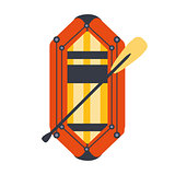Yellow And Red Inflatable Dinghy With Peddle, Part Of Boat And Water Sports Series Of Simple Flat Vector Illustrations