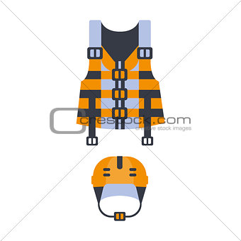 Blue And Orange Life Vest And Helmet, Part Of Boat And Water Sports Series Of Simple Flat Vector Illustrations