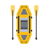 Yellow Inflatable Raft With Two Peddles, Part Of Boat And Water Sports Series Of Simple Flat Vector Illustrations