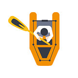 Orange Raft For One Person With Peddle, Part Of Boat And Water Sports Series Of Simple Flat Vector Illustrations