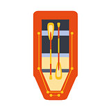 Red Inflatable Raft With Two Peddles, Part Of Boat And Water Sports Series Of Simple Flat Vector Illustrations