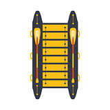 Grey And Yellow Catamaran With Two Peddles, Part Of Boat And Water Sports Series Of Simple Flat Vector Illustrations
