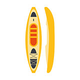 Yellow Plastic Kayak From Two Perspectives, Part Of Boat And Water Sports Series Of Simple Flat Vector Illustrations