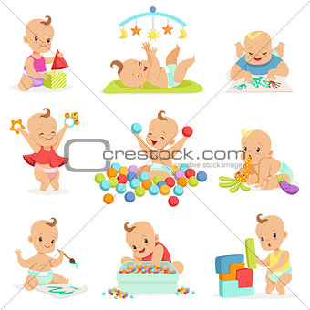Adorable Girly Cartoon Babies Playing With Their Stuffed Toys And Development Tools Series Of Cute Happy Infants