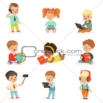 Small Kids Using Modern Gadgets And Reading Books, Childhood And Technology Series Of Cute Illustrations