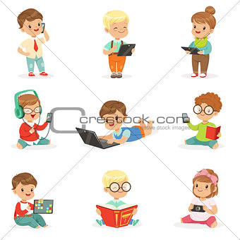 Small Kids Using Modern Gadgets And Reading Books, Childhood And Technology Set Of Cute Illustrations