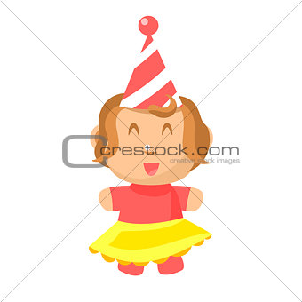 Small Happy Baby Girl In Party Hat And Yellow Skirt Standing Vector Simple Illustrations With Cute Infant