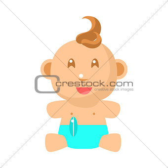 Small Happy Baby Sitting In Blue Nappy Vector Simple Illustrations With Cute Infant