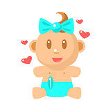 Small Happy Baby Girl Sitting In Blue Nappy With Hearts Around Vector Simple Illustrations With Cute Infant