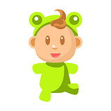Small Happy Baby Walking In Green Frog Costume Vector Simple Illustrations With Cute Infant