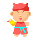 Small Happy Baby Standing In Red Gown With Toy Duck Going To Take A Bath Vector Simple Illustrations With Cute Infant
