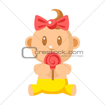 Small Happy Baby Girl In Yellow Pants Eating A Lollypop Vector Simple Illustrations With Cute Infant