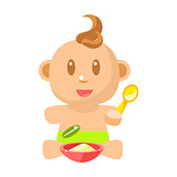 Small Happy Baby Boy In Green Nappy Eating Porridge With Spoon Vector Simple Illustrations With Cute Infant