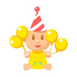 Small Happy Baby In Birthday Party Hat With Yellow Balloons Vector Simple Illustrations With Cute Infant