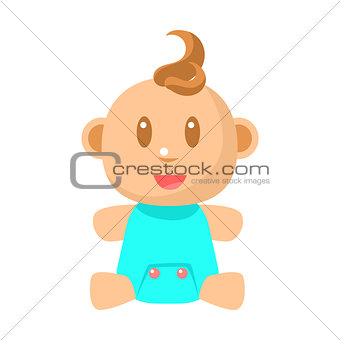Small Happy Baby Boy Sitting In Blue Onesie Vector Simple Illustrations With Cute Infant
