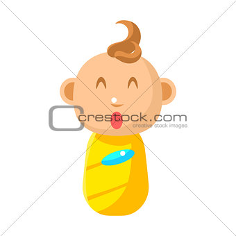 Small Happy Newborn Baby Swaddled In Yellow Diaper Vector Simple Illustrations With Cute Infant