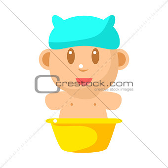 Small Happy Baby Taking Bath In Blue Bathing Hat Vector Simple Illustrations With Cute Infant