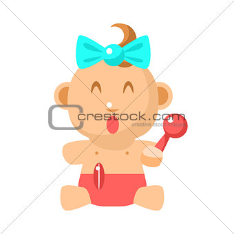 Small Happy Baby Girl Sitting With Toy Shaker In Red Nappy Vector Simple Illustrations With Cute Infant