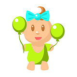 Small Happy Baby Girl In Green Onesie With Two Balloons Vector Simple Illustrations With Cute Infant