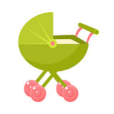 Green Stroller With Pink Wheels And Closed Hood, Object From Baby Room, Happy Childhood Cute Illustration