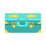 Blue Suitcase For Luggage With Fishes, Object From Baby Room, Happy Childhood Cute Illustration