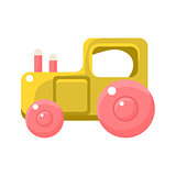 Toy Yellow Truck With Pink Wheels, Object From Baby Room, Happy Childhood Cute Illustration