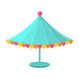Blue Decorated Circus Canopy, Object From Baby Room, Happy Childhood Cute Illustration