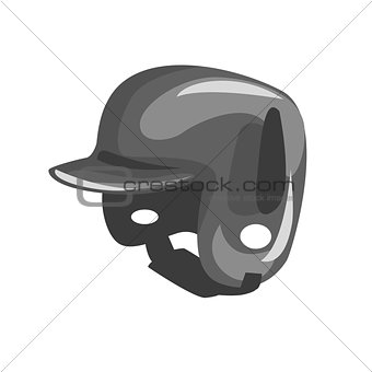 Black Plastic Helmed For Head Protection, Part Of Baseball Player Ammunition And Equipment Set Isolated Objects