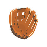 Catcher Leather Glove, Part Of Baseball Player Ammunition And Equipment Set Isolated Objects