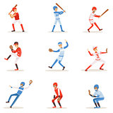 Professional League Baseball Players On The Field Playing Baseball, Sportsmen In Uniform Set Of Vector Illustrations.