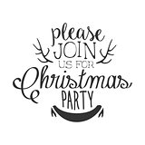 Christmas Party Black And White Invitation Card Design Template With Calligraphic Text And Deer Antlers